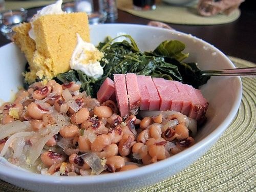 New Years Day Dinner- my parents made this faithfully on New Years Day. Collards for green money - black eyed peas for change and ham hock for the fat of the land. Eat it on that day you were assured to have it all year!