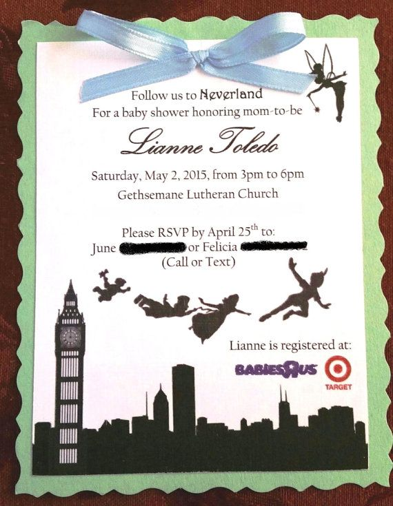 16 best images about baby shower peter pan tinkerbell on for Peter pan invitation template