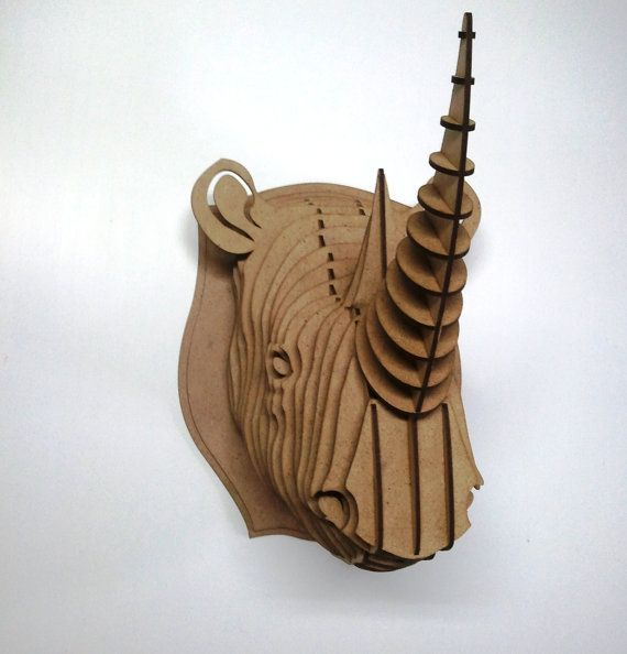 Rhino head 3D Puzzle Cardboard Animal head от Dreamlightforyou