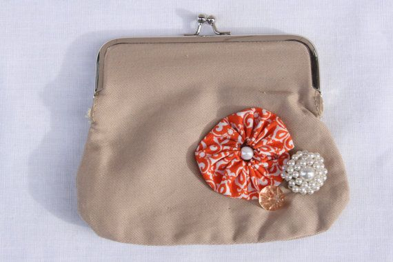 Orange Yoyo and Vintage Button Khaki  Coin by TheMixingBowlOnline, $13.00