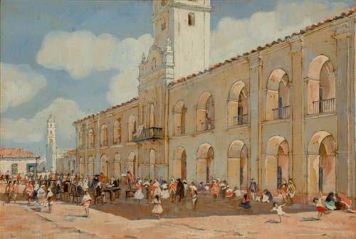 Léonie Matthis, Cabildo de Buenos Aires, 1780 - Almoneda pública de esclavos en la Plaza Mayor, 1760 | Museo Histórico Brigadier General Cornelio de Saavedra