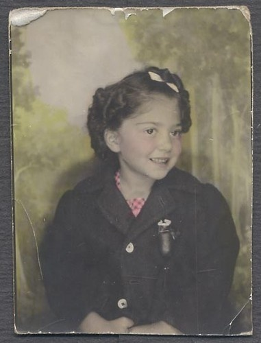 ** Vintage Photo Booth Picture **  Adorable little girl smiling, all dressed up - pretty hand tinting too.  ca. 1940