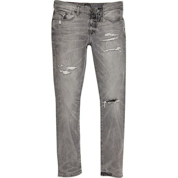 River Island Grey distressed Danny super skinny jeans ($56) ❤ liked on  Polyvore featuring men's fashion, men's clothing, men's jeans, grey, jeans,  mens ... - Best 25+ Grey Jeans Men Ideas On Pinterest Men Fashion Casual