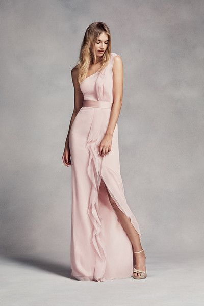 White by Vera Wang Style VW360274  This long chiffon bridesmaid dress is a work of art with waves of ruffles that fall from the one-shoulder neckline to the floor.