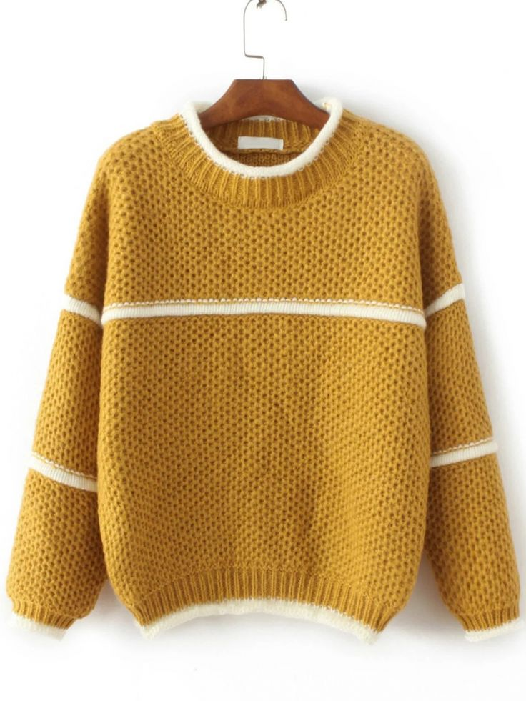 Buy Yellow Contrast Trim Crew Neck Sweater from abaday.com, FREE shipping Worldwide - Fashion Clothing, Latest Street Fashion At Abaday.com
