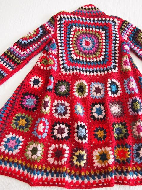 Red, Granny Square ,Coat,  hoody, jacket,  hand knitting, wool ,mohair, acrylic,Handmade, knitted coat,cardigan, sweatshirt,