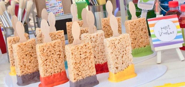 Paintbrush-Rice-Krispie-Treats - we have seriously been toying with a Tom Sawyer Paint the Fence Party...