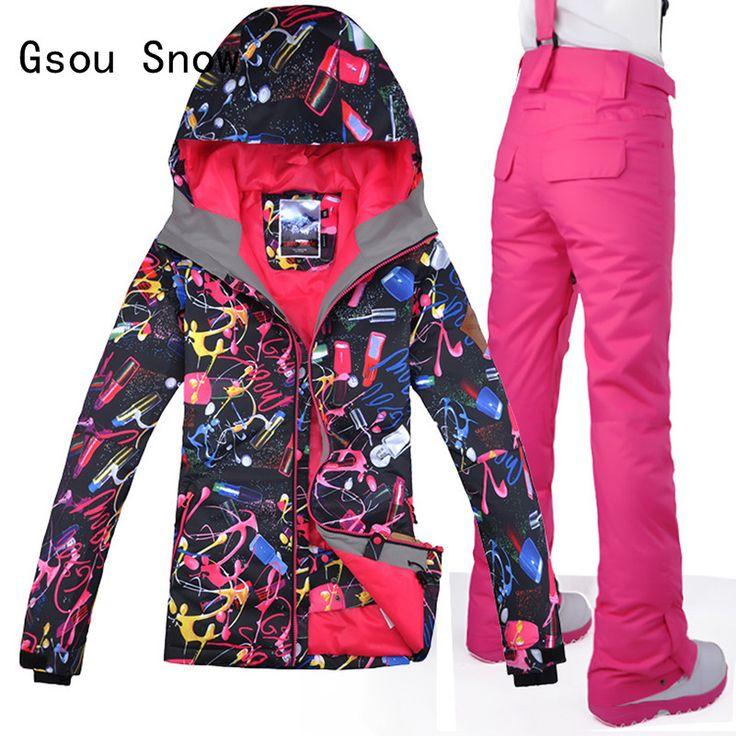 Women Ski Suit Gsou Snow Band Windproof Waterproof Skiing JacketPants Outdoor Sport Wear Coat Trouser Winter Warm Clothing Suit