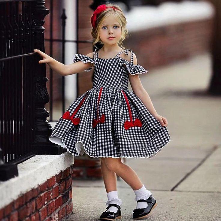 Little Girls Cutie Plaid Dresses