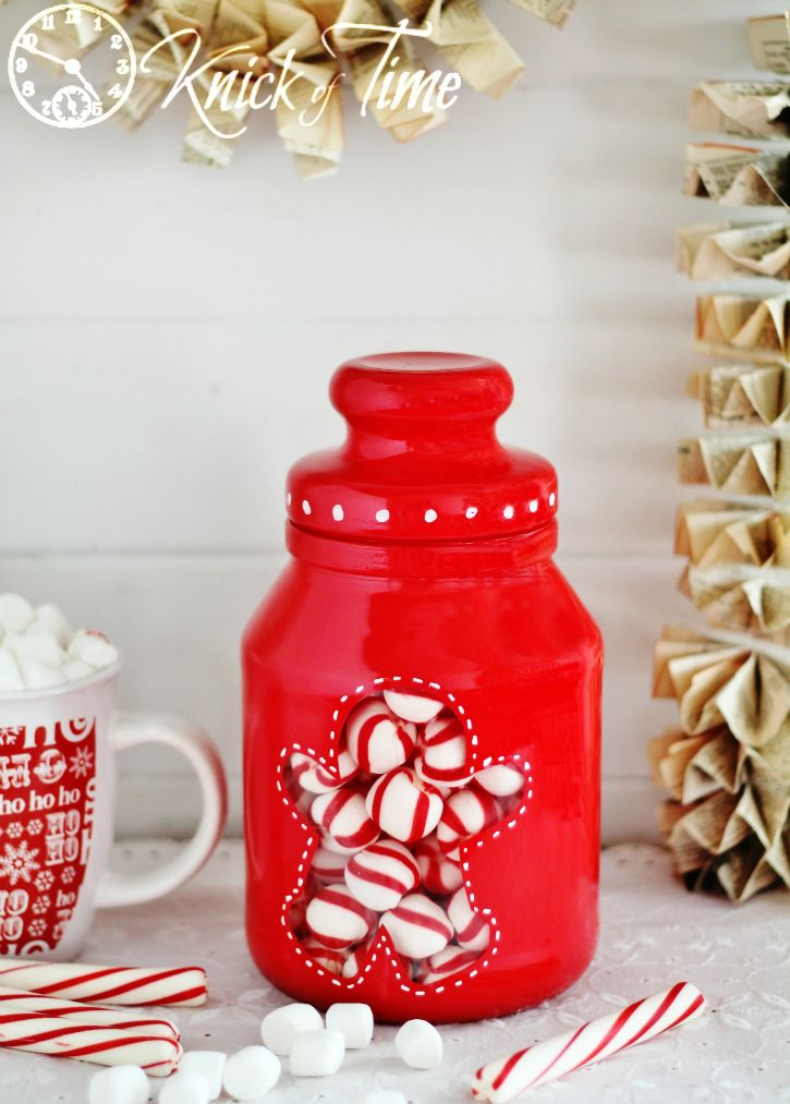 Gingerbread  Man Painted Jar - Knick of Time - Featured at the Home  Matters Linky Party 163