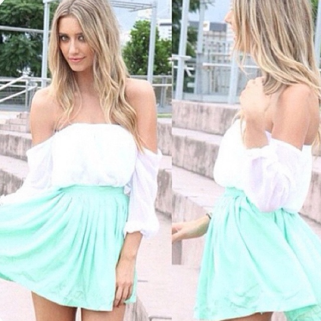So cute: Mint Green, Dreams Closet, Clothing, Outfit, Dresses, Minti White, New Fashion, Pleated Skirts, Sabo Skirts
