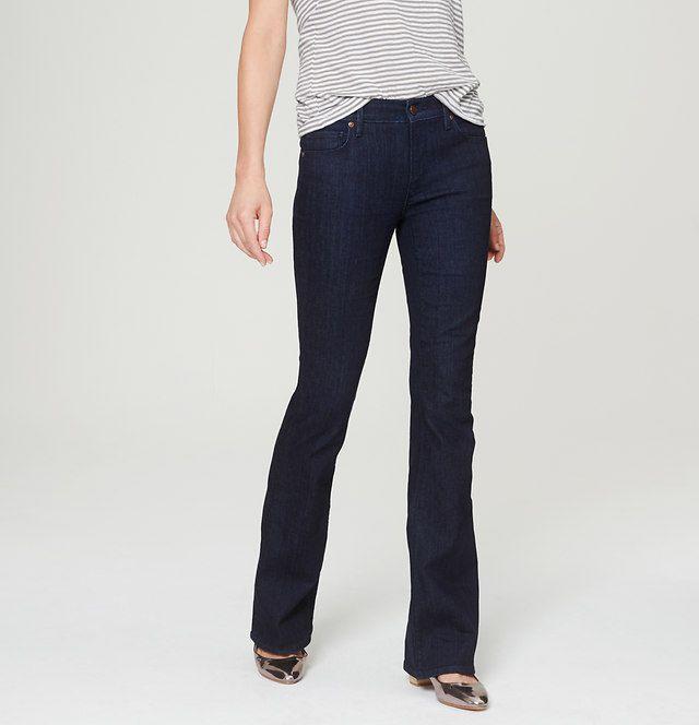 Petite Flare Jeans in Dark Rinse Wash | Loft