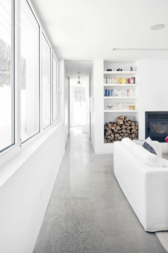 salon leroy merlin beton ciré gris avec murs blancs