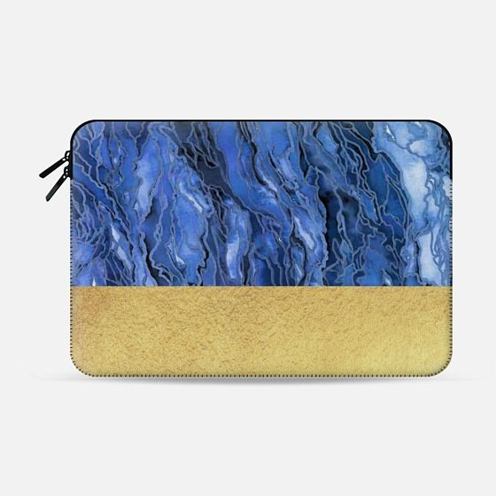 """Marble Idea! Blue Grey Gold"" by Artist Julia Di Sano, Ebi Emporium on @casetify Colorful Marbled Watercolor Painting Tech Macbook Case Sleeve Blue Swirls Faux Metallix Gold Shimmer #gold #shimmer #fauxglitter #marbled #marble #laptopcase #laptopcover #laptopsleeve #macbookcase #macbooksleeve #macbookpro #proretina #office #colorful #EbiEmporium #Casetify #chic"