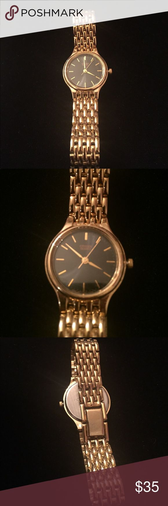Citizen Vintage Gold Watch 6040401 Beautiful gold vintage watch from Citizens. In working condition. Last put a battery in 2016. Has gold linear lines for numbers and a black face. Snap closure. Citizen Accessories Watches