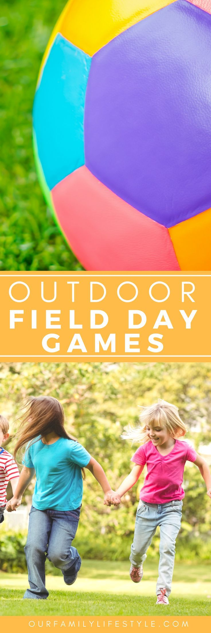 17 Outdoor Field Day Games for Kids that include a water balloon toss, goal kick, water relay, balloon pop and list of more fun outside games.