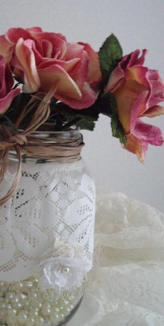 Spring Wedding Vintage Lace DIY Mason Jar Wraps by handcraftusa, $19.99