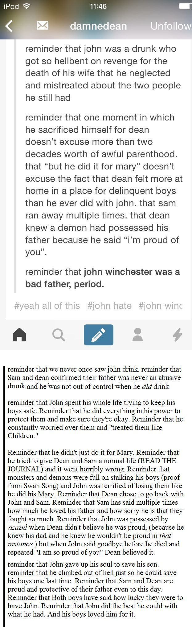 "The second half of this makes a much better argument than the first half. John might not have been ""Father of the Year"", but he damn sure wasn't ""a bad father, period"". :P"