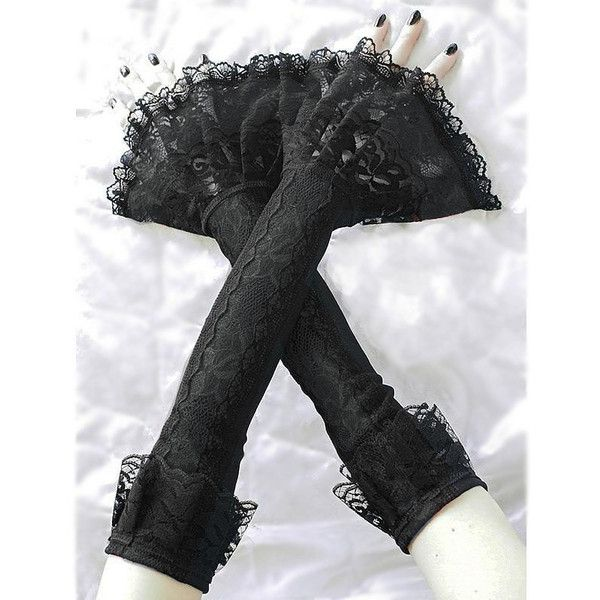 extra black lace long fingerless gloves, arm warmers in gothic,... (295 SEK) ❤…