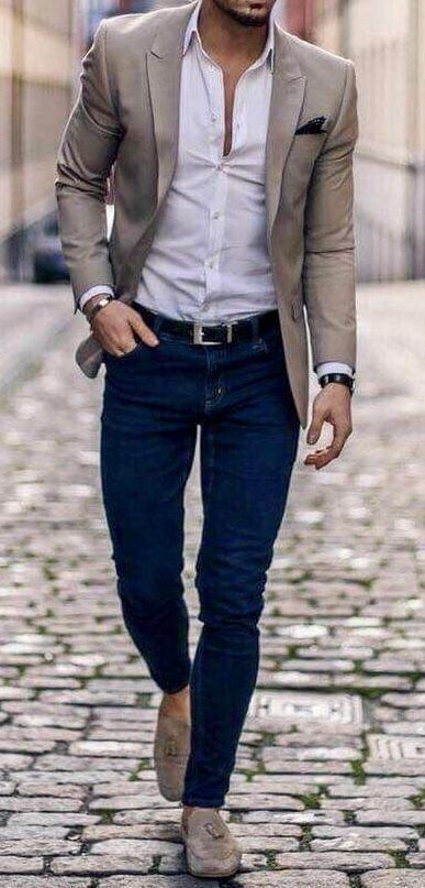 Men's fall fashion. Blue jeans with white shirt and blazer #suitcombinationsme…
