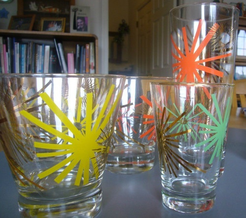 Russel Wright Asterisk Bartlett-Collins Cocktail Glasses: Pattern