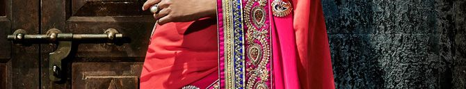 SVD46Q45454 Deep Pink Faux Georgette Saree with Blouse