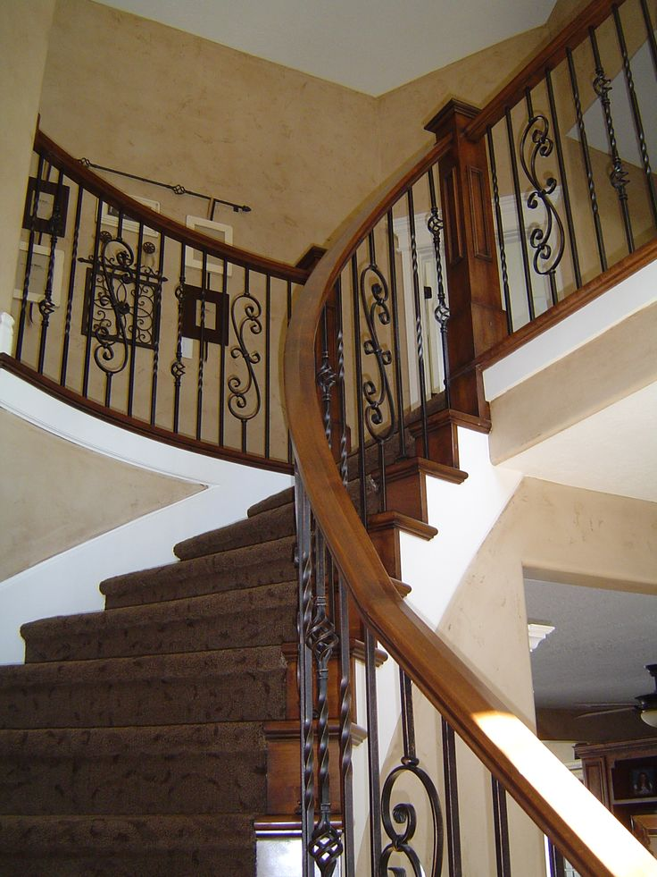 French Country Banisters | Remodeled Alder Banister w/ Wrought Iron Ballusters