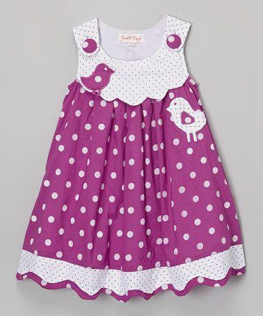 Love this Purple Bird Polka Dot Dress - Infant, Toddler & Girls by Powell Craft on #zulily! #zulilyfinds