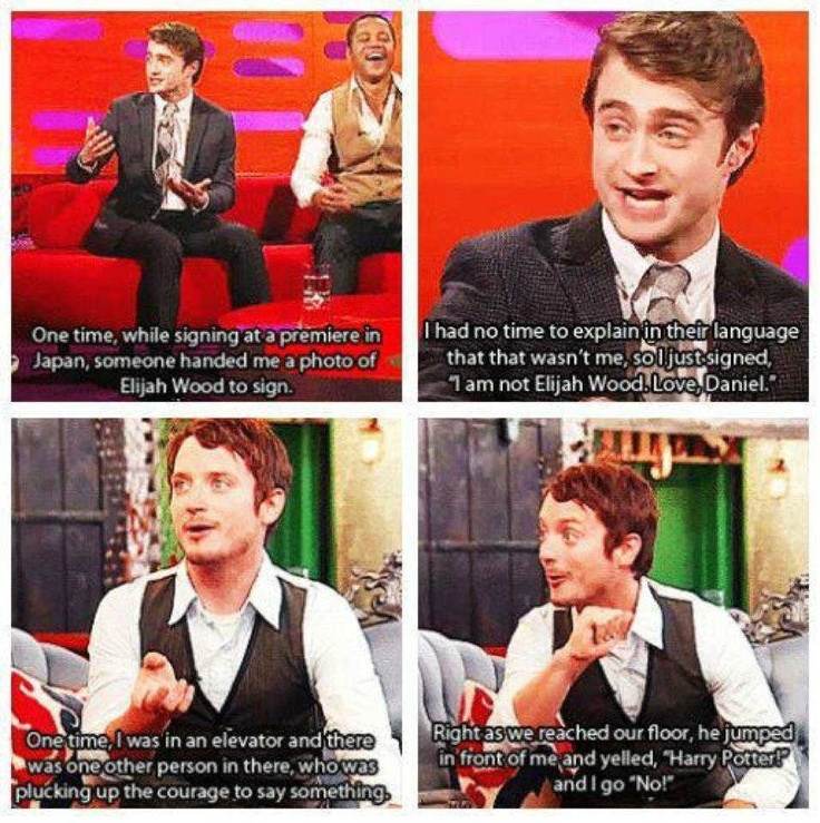 awesome: Elijah Wood, Funny Stories, Funny Commercial, Funny Photos, Harry Potter, So Funny, People, Looks Alike, Daniel Radcliffe