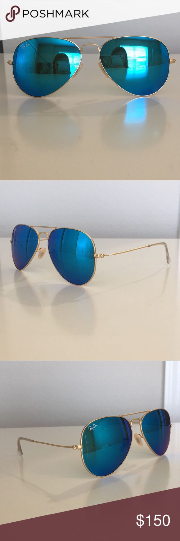 Ray Ban Aviator Sunglasses Authentic aviator Ray Ban sunglasses. Lenses are blue with gold trim Ray-Ban Accessories Sunglasses