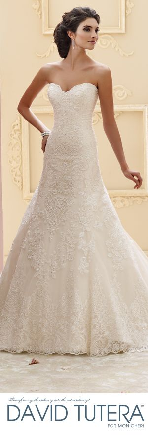 I adore the lace! And just about all of David Tutera's Mon Cheri line for that matter. - David Tutera for Mon Cheri Fall 2015