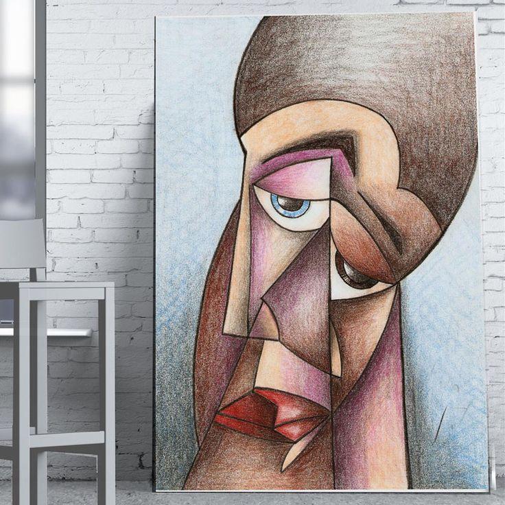 Lienzo Cara Hombre Cubista 160x80cm