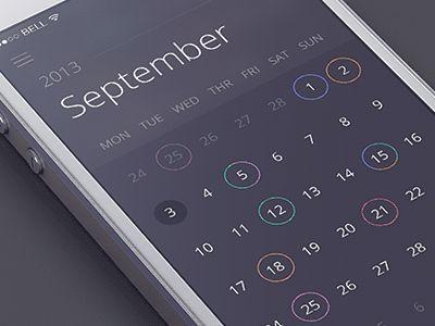 Sidebar calendar animation | #ui #app #webdesign | Jakub Antalík