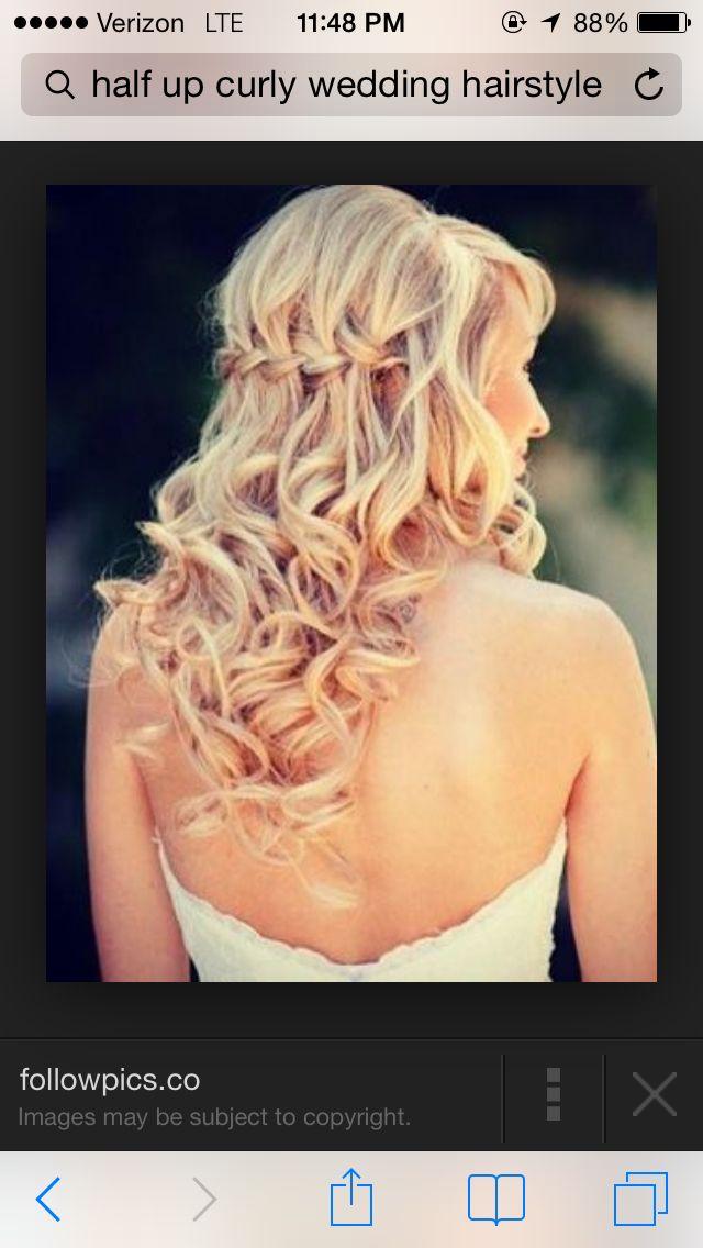 Half updo curly wedding hair