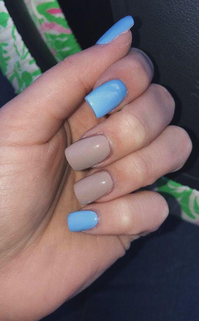 Blue And Tan Nails Beige Nails Light Blue Nails Short