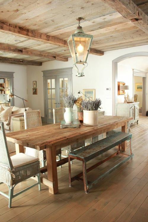 Country style dining tables with dining chairs – Rustic dining tables light wood chairs bench – Manon Montouillout