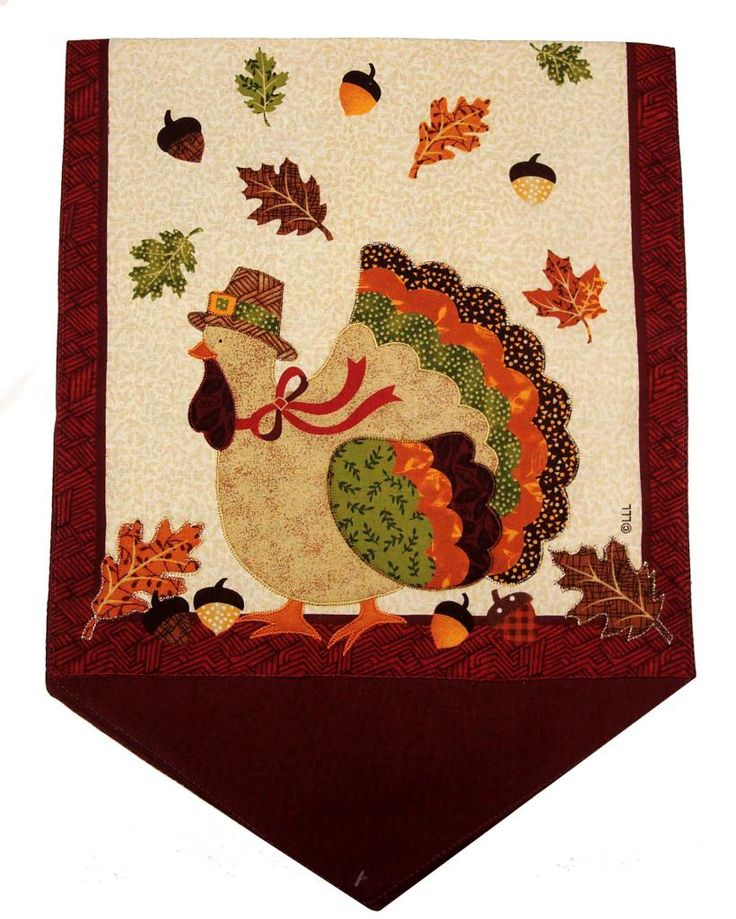 Turkey Appliqued Runner photo turkeyappliquedrunnerburgundy.jpg