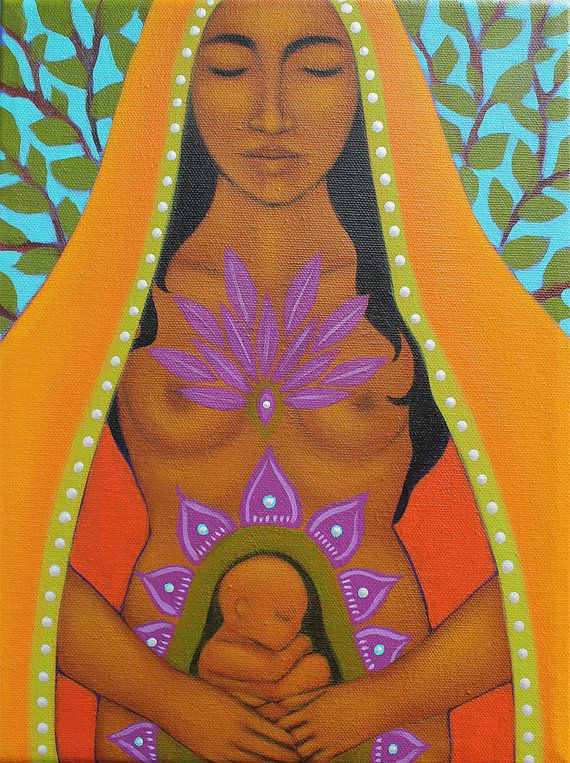Mexican Inspired Sacred Fertility Goddess Print of Painting - Original Midwifery Art by Tamara Adams Mothers Day Gifts from $15-50 At https://www.etsy.com/shop/goddessgallery