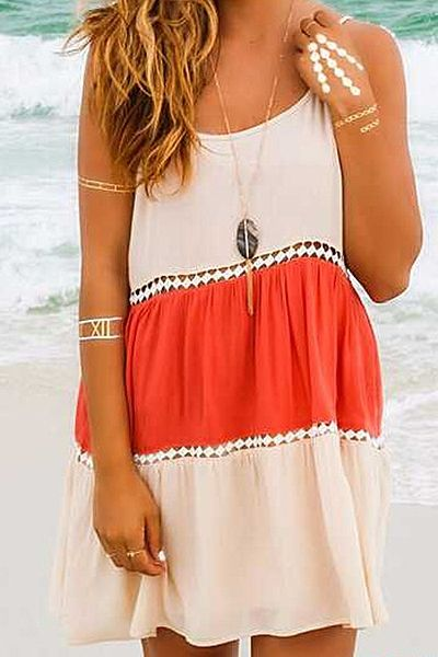 Color Block Open Back Spaghetti Straps Dress