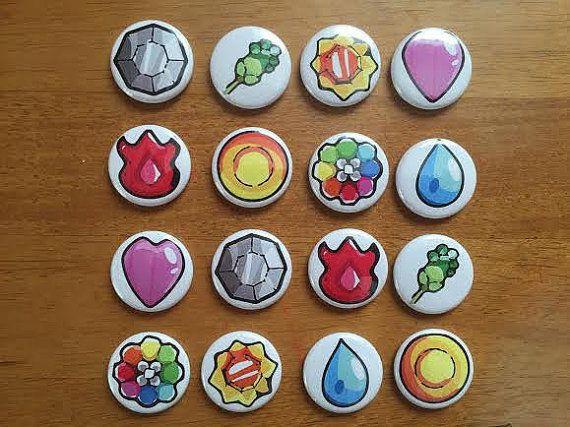 Pokemon Gym Badge Buttons Set of 16 Pokeball Buttons, Nintendo, Pokemon, Retro Nintendo, Pokemon Gym Badge