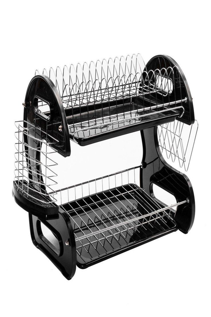16 59 2 Tiers Dish Drying Rack Drainer Dryer Tray Kitchen Plate