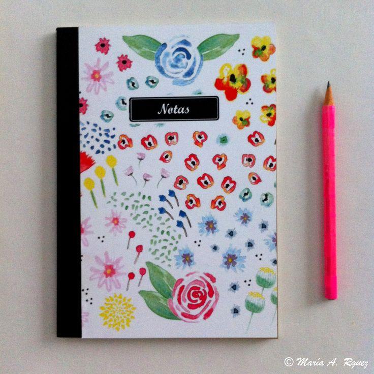 #Spring #DiseñoDeEstampados #Acuarela #Dibujo #Flores #Primavera #Watercolors #LibretaDeNotas #Libreta