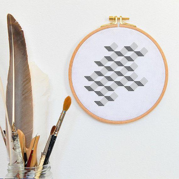 Modernes geometrisches Kreuzstich Muster 3D UP AND IN Stickmuster dekorative einfache Handstickerei Zählbild Zählvorlage sticken Stickbild 3D UP AND
