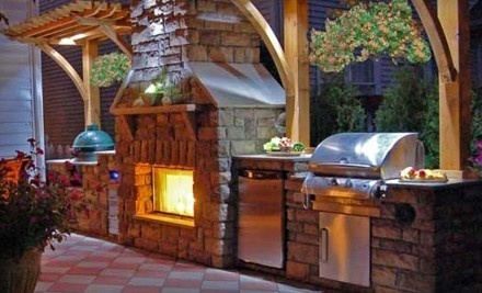 Would love to have this in my back yard.: Dream Backyard, Outdoor Living, Outdoor Patio, Outdoor Kitchens, Outdoor Fireplaces, Outdoor Spaces, Kitchens Idea, Big Green Eggs, Pizza Ovens