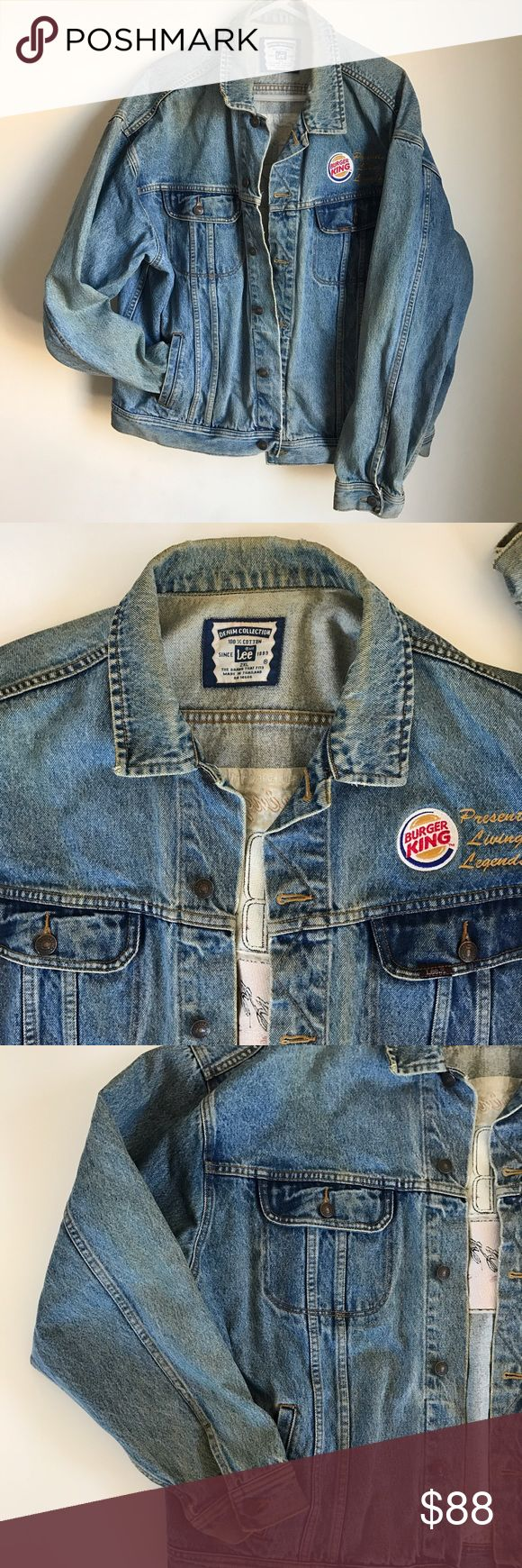 "Vintage Lee Jean Jacket Vintage Lee Jean Jacket. 90's. Features patches from Burger King. Sponsors of events & contests that took place during Black Music Month. (June) Bright colored vibrant patches on the back featuring different types of music. Size 2XL. Does have some typical ""Jean discoloration"" throughout giving it a genuine distressed look. No other flaws. (Pictured in the last photo.) Four front functioning pockets. Lee Jackets & Coats"