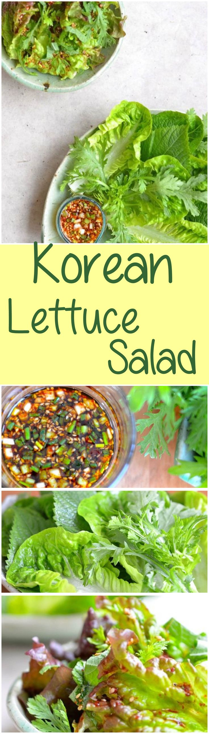 Often served with Korean BBQ, fresh lettuce and greens are coated in soy sauce and vinegar dressing with a hint of chili. It is a compliment to any meat dish. So refreshing and delicious!  | Kimchimari.com