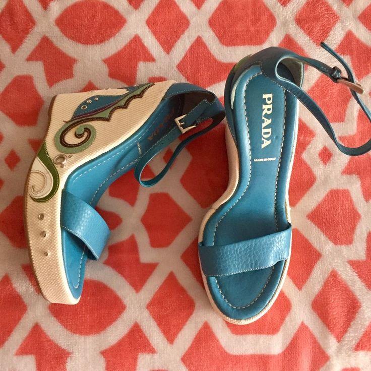Prada Shoes Size 37 US Size 6-6.5 2005 Runway Collection! #PRADA #SandalStyleAnkleStrapPlatformWedge #Casual