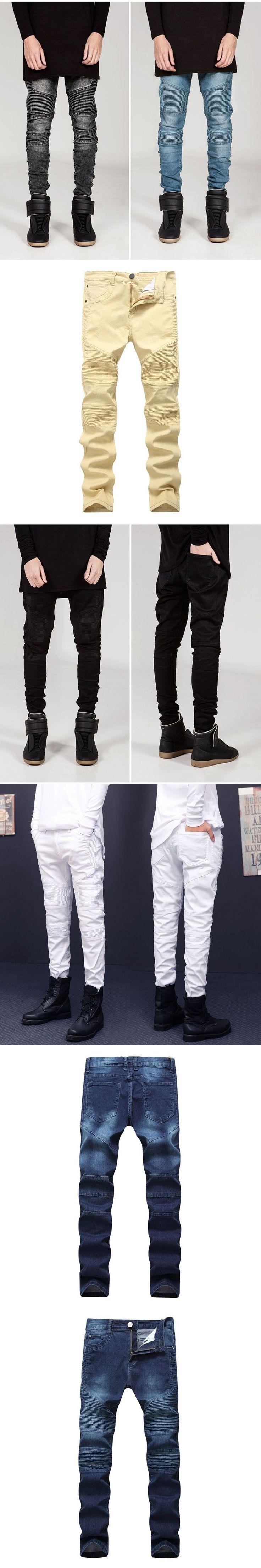 YYFS Men's Jeans Skinny Jeans Men Folded Slim Racer Ripped Biker Jeans Strech Hiphop Jean Homme Pencil Pant Male Pants For Men