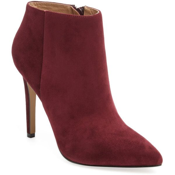 Pure Navy Women's Pointed-Toe Bootie - Red, Size 10 ($119) ❤ liked on Polyvore featuring shoes, boots, ankle booties, red, pointy toe booties, navy booties, red booties, navy bootie and high heel bootie