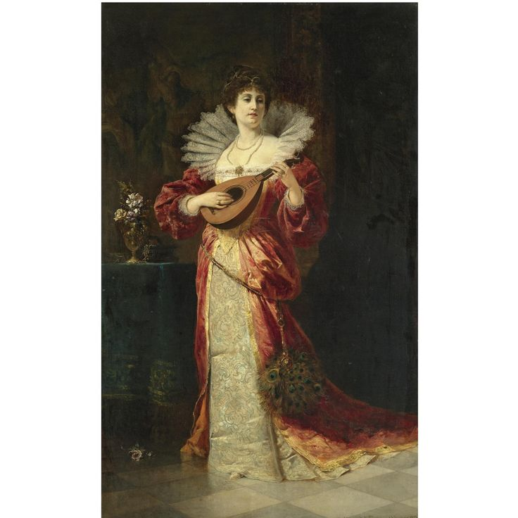Ferdinand Wagner Jr. (German, 1847–1927) Lady with lute, 1877. Oil on canvas, 39 ¼ x 24 ½ in (100 x 62.5 cm). Sotheby's London, November 2009.